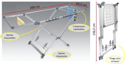 Séchoir Ultra compact, 20 mètre d'étendage - Aluminium - 2 accessoires futés