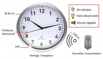 Combiné sonnette et horloge, Sans fil - Sweep movement - Lumière