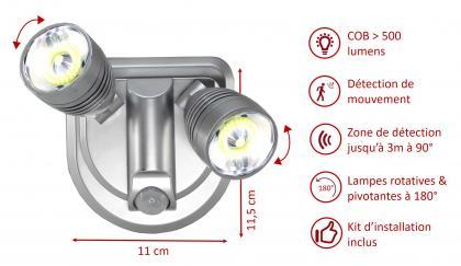 Double spot light, Détection de mouvement - 500 Lumens - Spots orientables