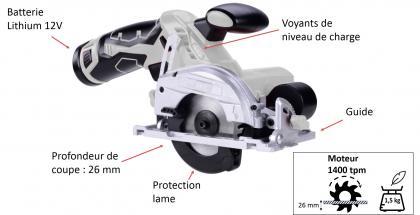 Mini scie circulaire sans fil, Batterie Lithium 12V - Poids plume - Format compact