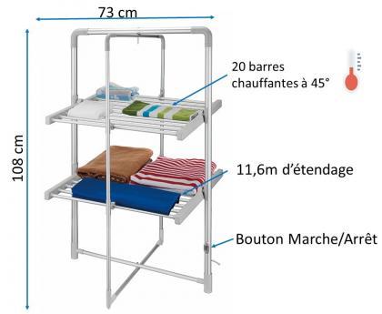 Séchoir à linge électrique, 20 barres chauffantes à 45° - 11.6 m d'étendage - Compact