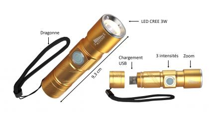 Torche rechargeable USB Gold, Chargeur USB intégré - LED CREE 3W - Format poche