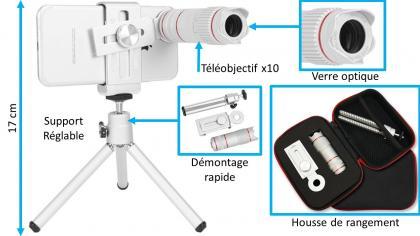 Téléobjectif HD pour téléphone, Téléobjectif X10 - Pour tous smartphones - Très stable
