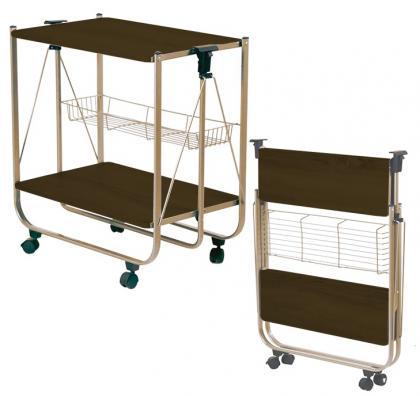 Table roulante pliage instantané, Finition bois et dorée - Sans effort - Rangement facile