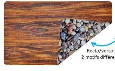 Tapis anti fatigue recto/verso, 2 décors différents - PVC mousse - Antidérapant