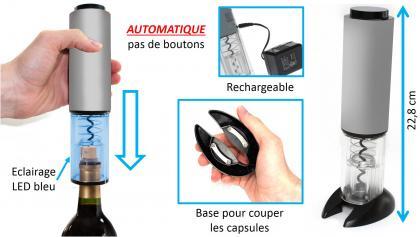 Tire-bouchons automatique, Rechargeable - Eclairage LED bleu - Base coupante