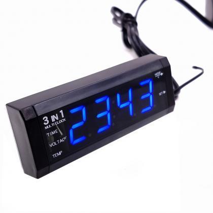 Voltmètre de voiture 3 en 1, Voltage de la batterie - Heure - Thermomètre